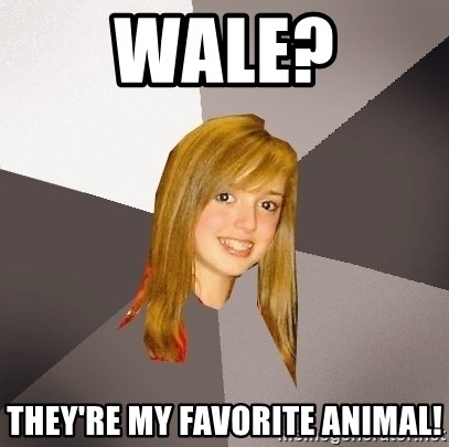 Musically Oblivious 8th Grader - Wale? They're my Favorite animal!