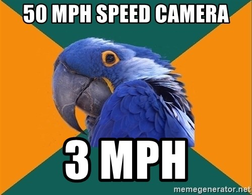 Paranoid Parrot - 50 mph speed camera 3 mph