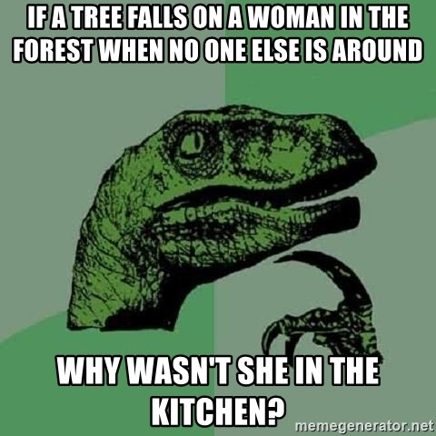 Philosoraptor - if a tree falls on a woman in the forest when no one else is around why wasn't she in the kitchen?