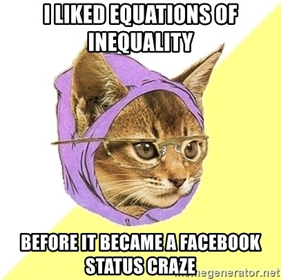 Hipster Kitty - I liked equations of inequality before it became a facebook status craze