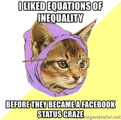 Hipster Kitty - I liked equations of inequality Before they became a facebook status craze