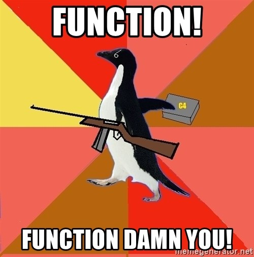 Socially Fed Up Penguin - function! function damn you!
