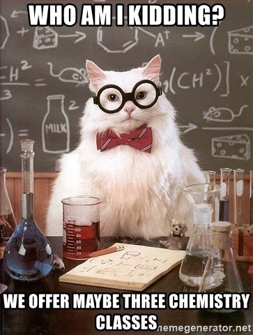 Chemistry Cat - Who am i kidding? we offer maybe three chemistry classes