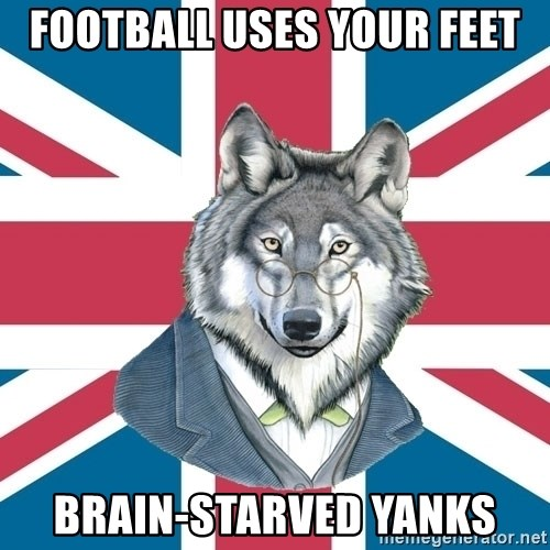 Sir Courage Wolf Esquire - football uses your feet brain-starved yanks