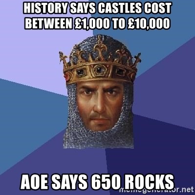 Age Of Empires - History says castles cost between £1,000 to £10,000 AOE says 650 rocks