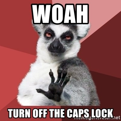 Chill Out Lemur - Woah Turn off the caps lock