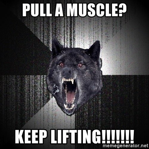 Insanity Wolf - Pull a muscle? KEEP LIFTING!!!!!!!