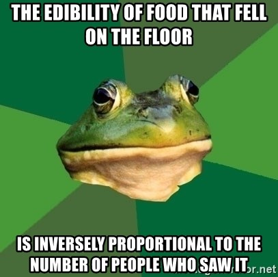 Foul Bachelor Frog - The edibility of food that fell on the floor is inversely proportional to the number of people who saw it