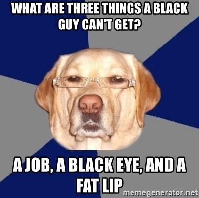 Racist Dawg - What are three things a black guy can't get? A job, a black eye, and a fat lip
