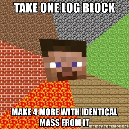 Minecraft Guy - Take one log block make 4 more with identical mass from it