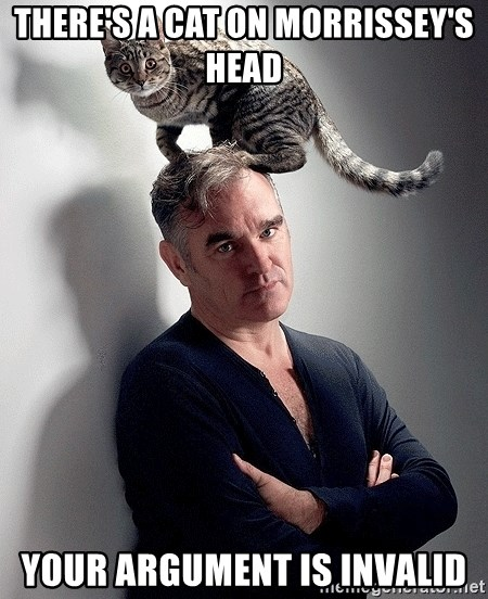 morrissey - there's a cat on Morrissey's head your argument is invalid