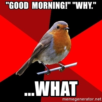 """Retail Robin - """"Good  morning!"""" """"why."""" ...what"""