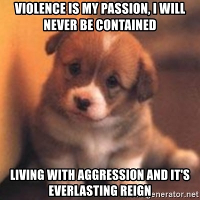 cute puppy - VIOLENCE IS MY PASSION, I WILL NEVER BE CONTAINED LIVING WITH AGGRESSION AND IT'S EVERLASTING REIGN