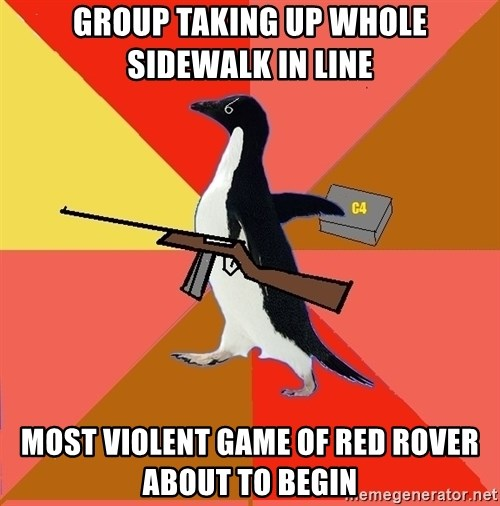 Socially Fed Up Penguin - group taking up whole sidewalk in line most violent game of red rover about to begin
