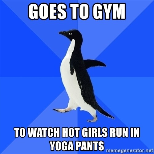 Socially Awkward Penguin - goes to gym to watch hot girls run in yoga pants