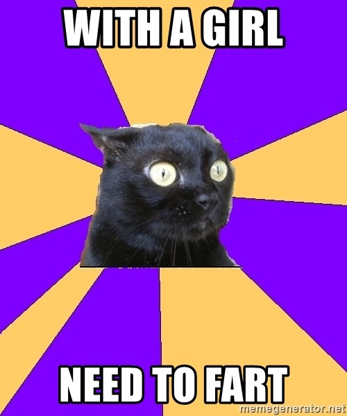 Anxiety Cat - with a girl need to fart