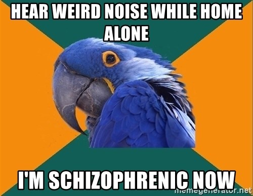 Paranoid Parrot - Hear weird noise while home alone I'm schizophrenic now