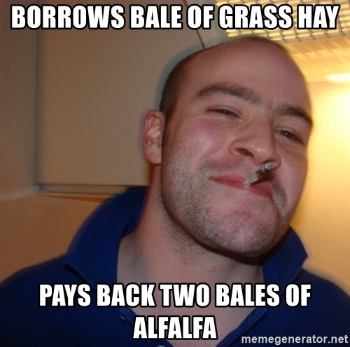 Good Guy Greg - BORROWS BALE OF GRASS HAY PAYS BACK TWO BALES OF ALFALFA