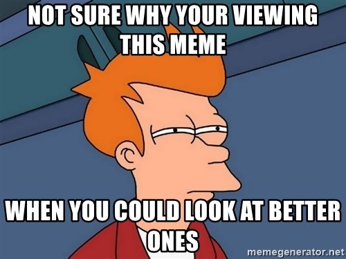 Futurama Fry - Not sure why your viewing this meme when you could look at better ones