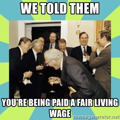 reagan white house laughing - we told them you're being paid a fair living wage