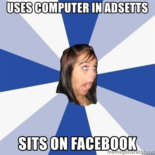 Annoying Facebook Girl - uses computer in adsetts sits on facebook