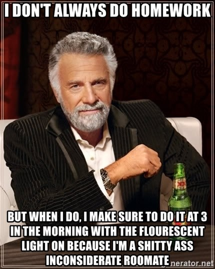 The Most Interesting Man In The World - I don't always do homework but when I do, I make sure to do it at 3 in the morning with the flourescent light on because I'm a shitty ass inconsiderate roomate