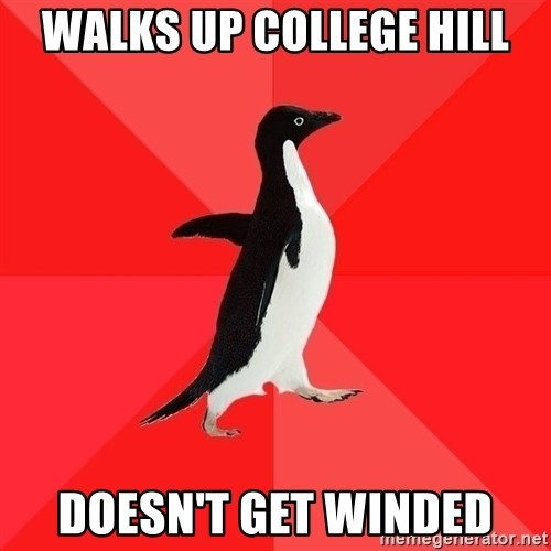 Socially Awesome Penguin - walks up college hill doesn't get winded