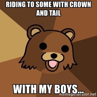 Pedobear - riding to some with crown and tail with my boys...
