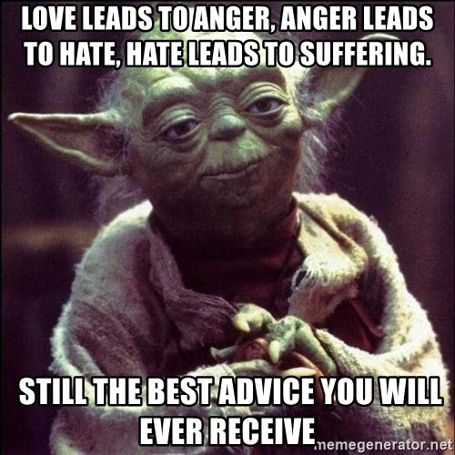 Advice Yoda - Love leads to anger, Anger leads to Hate, HATE LEADS TO SUFFERING.  Still the best advice you will ever receive