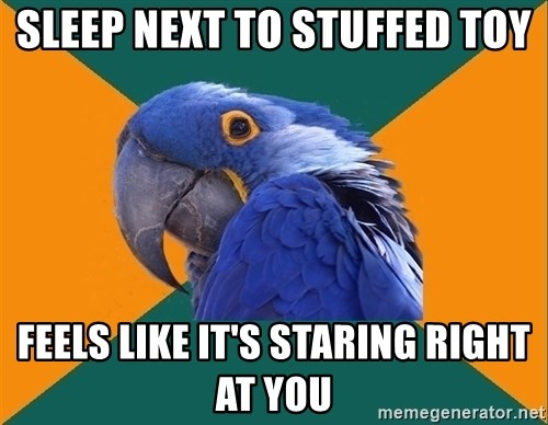 Paranoid Parrot - sleep next to stuffed toy feels like it's staring right at you