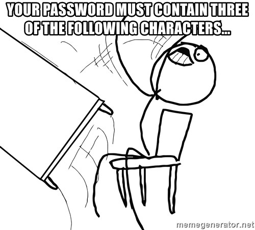 Desk Flip Rage Guy - Your password must contain three of the following characters...