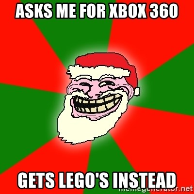 Santa Claus Troll Face - asks me for xbox 360 gets lego's instead