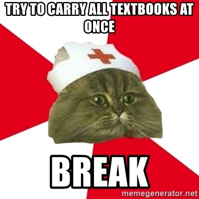 Nursing Student Cat - trY TO CARRY ALL TEXTBOOKS AT ONCE BREAK