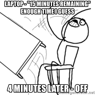 """flip a table2 - laptop - """"15 minutes remaining"""" enough time i guess 4 minutes later - OFF"""