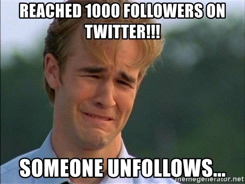 Crying Man - Reached 1000 followers on twitter!!! someone unfollows...