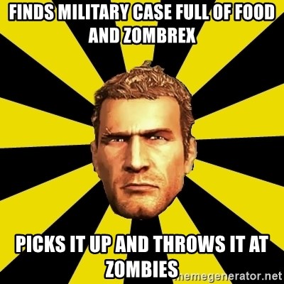 Chuck Greene - Finds Military Case full of food and Zombrex Picks it up and throws it at zombies