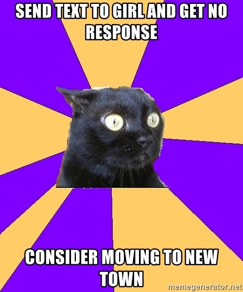Anxiety Cat - Send text to girl and get no response consider moving to new town
