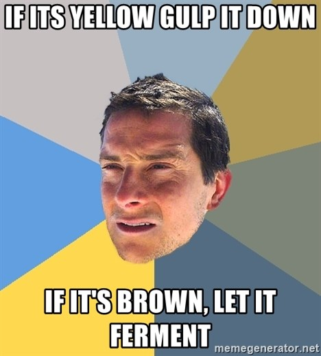 Bear Grylls - if its yellow gulp it down if it's brown, let it ferment
