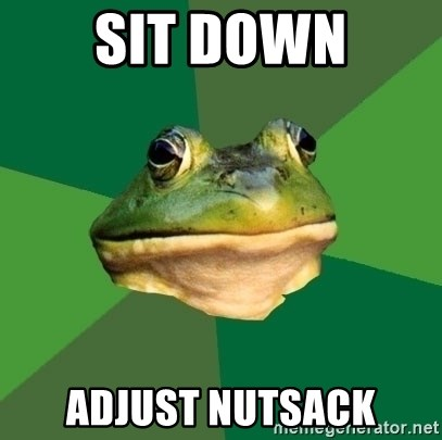 Foul Bachelor Frog - sit down adjust nutsack