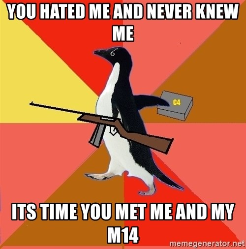 Socially Fed Up Penguin - You hated me and never knew me Its time you met me and my m14