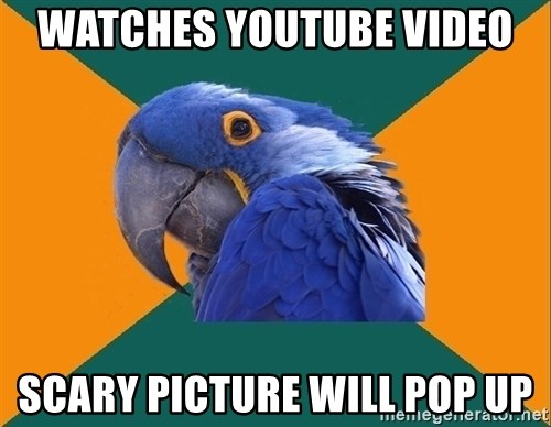 Paranoid Parrot - watches youtube video scary picture will pop up