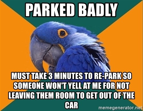 Paranoid Parrot - Parked badly must take 3 minutes to re-park so  someone won't yell at me for not leaving them room to get out of the car