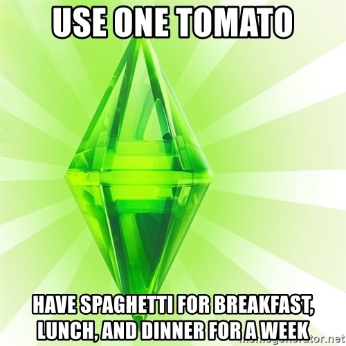 Sims - use one tomato have spaghetti for breakfast, lunch, and dinner for a week