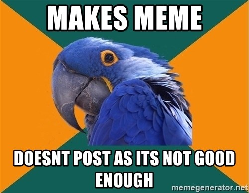 Paranoid Parrot - makes meme doesnt post as its not good enough