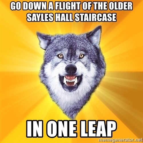 Courage Wolf - go down a flight of the older sayles hall staircase in one leap