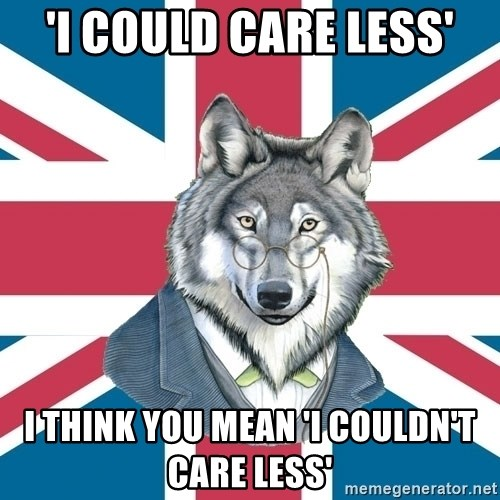 Sir Courage Wolf Esquire - 'I could Care less' I think you mean 'I couldn't care less'