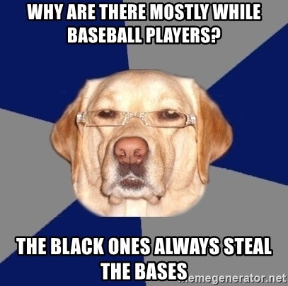 Racist Dog - Why are there mostly while baseball players? The black ones always steal the bases