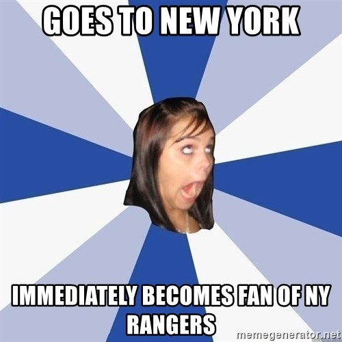 Annoying Facebook Girl - Goes to new york immediately becomes fan of NY Rangers