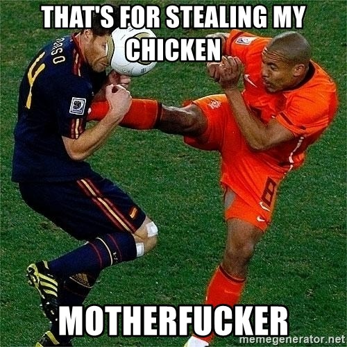 Netherlands - That's for stealing my Chicken Motherfucker