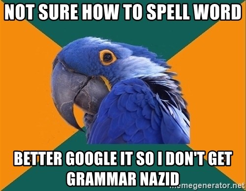 Paranoid Parrot - Not sure how to spell word better google it so I don't get grammar nazid